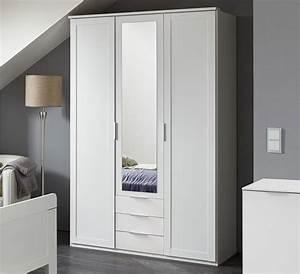 Kleiderschrank Mit Viel Ablage : 3 t riger kleiderschrank wei mit schubladen und spiegel aradeo ~ Sanjose-hotels-ca.com Haus und Dekorationen