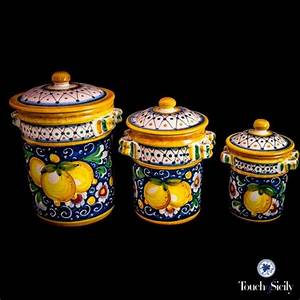 Italian Pottery Canister Set Pattern B Each Piece