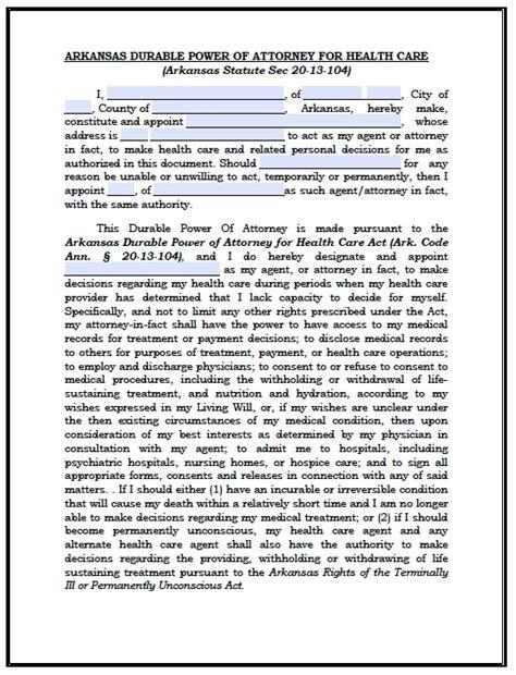 arkansas power  attorney forms  templates