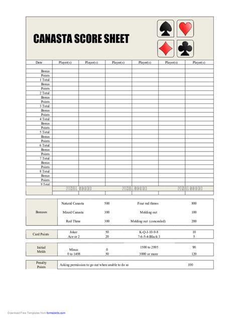 canasta score sheet fillable printable  forms