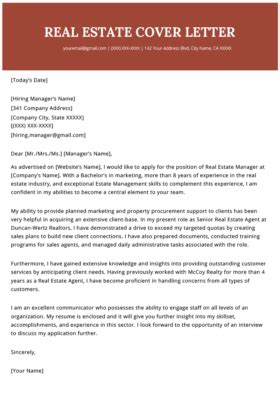 property manager cover letter sample    rg