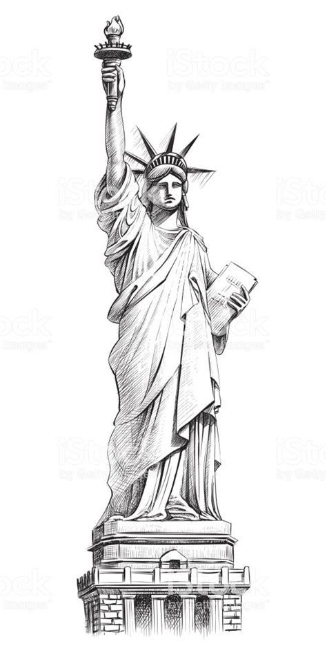 statue  liberty vector hand drawn illustration stock