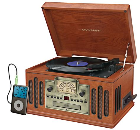 modern radio center crosley cr704 musician 3 spd turntable w igadget input