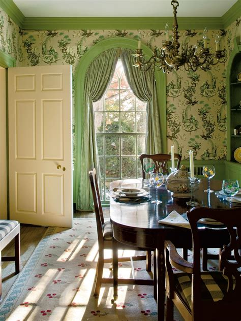 green cottage breakfast room  floral wallpaper hgtv