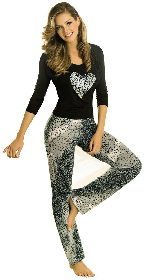 Women Pijamas Sleepwear Long Sleeve Top Pants Set 2 Piece