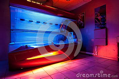 tanning bed at solarium studio editorial photography