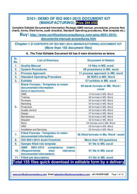 demo  iso  document kit manufacturing