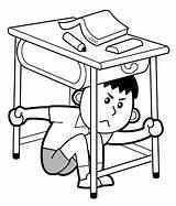 Under Desk Hiding Boy Background Isolated Vector Illustration sketch template