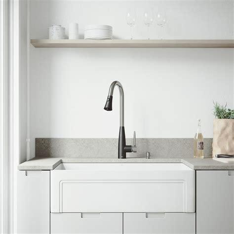 kitchen faucets for farmhouse sinks vigo all in one farmhouse matte 33 in single bowl 8065