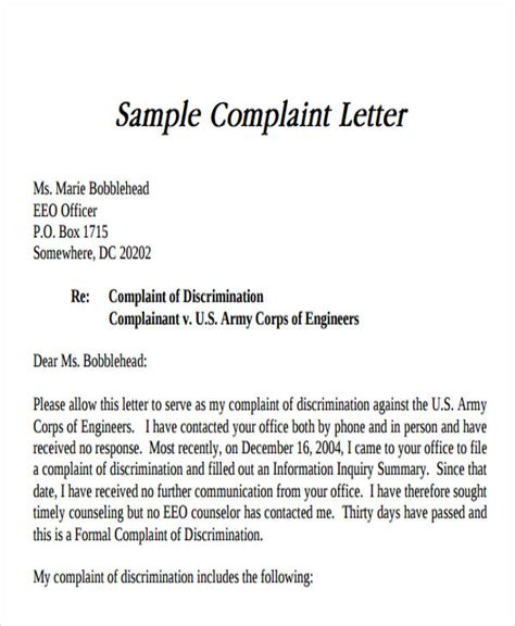 sample letter  dissatisfaction writing  strong