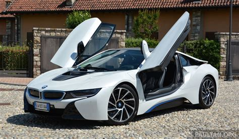 driven bmw i8 plug in hybrid sports car in milan