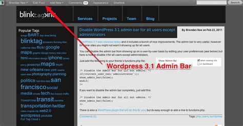 Disable Wordpress 3.1 Admin Bar For All Users Except