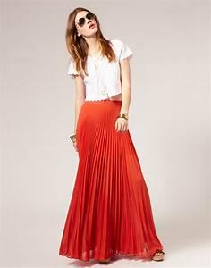 Long Chiffon Maxi Pleated Skirt Designs