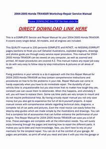 2004 2005 Honda Trx450r Workshop Repair Service Manual By