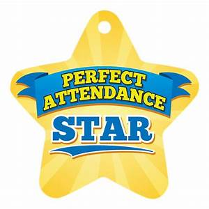 """Perfect Attendance (Star) Laminated Tag With 24"""" Chain ..."""