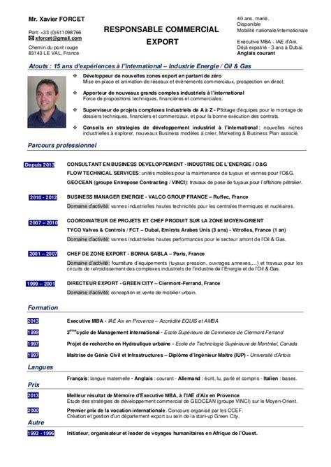 cadre administratif et commercial d entreprise exemple de cv commercial export