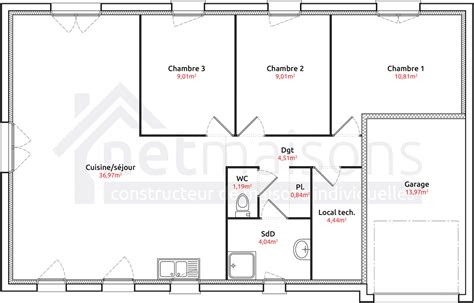 plan de maison plain pied 3 chambres gratuit stunning pied chambres avec garage plan de maison plein