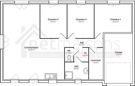 plan maison 3 chambres plain pied garage plan maison 90m2 plainpied 3 chambres plan de maison de