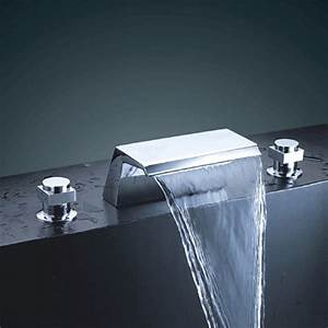 Chrome Finish Double Handle Waterfall Bathtub Sink Faucet