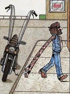 Long Arm Biker Cartoon ~ Funny Joke Pictures