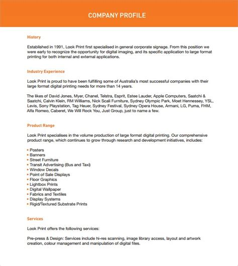 Company Profiels Template by 32 Free Company Profile Templates In Word Excel Pdf