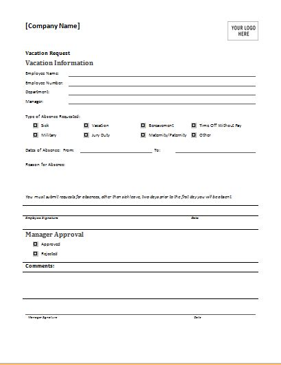 employee vacation request form   httpwww