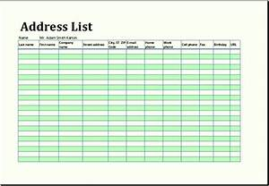 Sample address list or address book template excel for Microsoft excel address book template