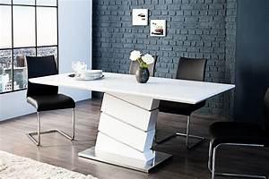 Table blanche design salle manger inspirations avec table for Meuble salle À manger avec chaise blanche pied en bois