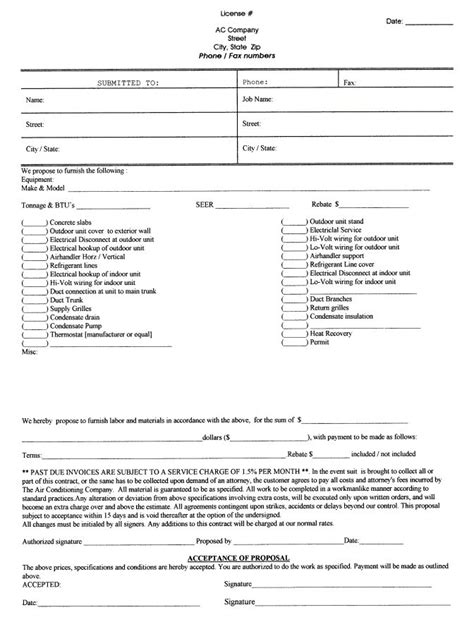 printable blank bid proposal forms  paper doll