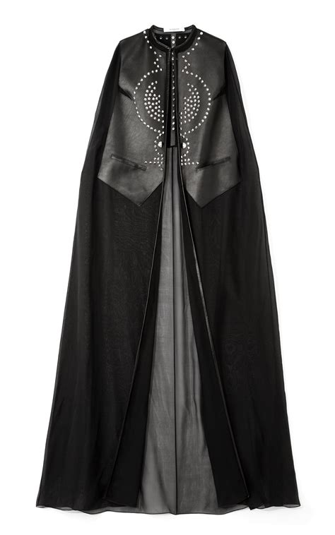 givenchy chiffon  leather long cape  black lyst
