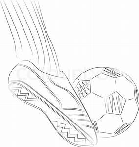Sketch illustration of a soccer player's foot on soccer ...