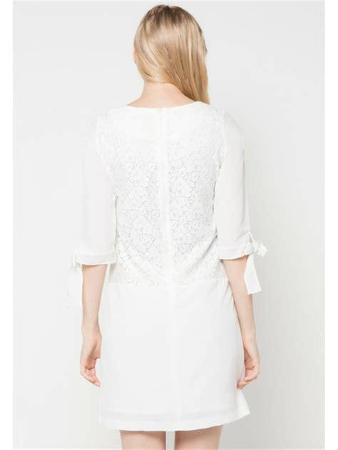 jual white brocade combination dress eprise  lapak