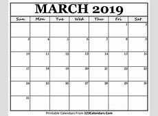 Printable March Month Calendar 2019 March 2019 Calendar