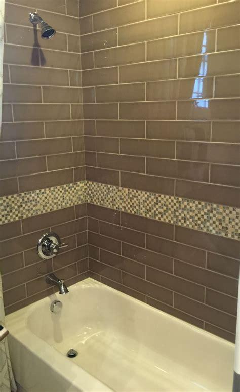 brown glass subway tile for bathroom shower home
