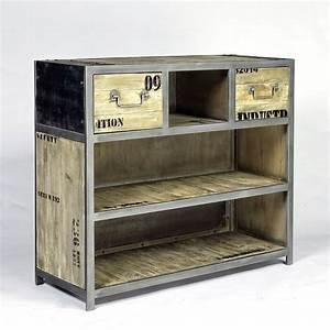 Meuble Bar Industriel : bar ego industriel 2 tiroirs pas cher en vente chez origin 39 s meubles ~ Teatrodelosmanantiales.com Idées de Décoration