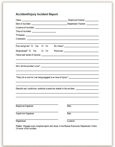 17889 sle incident report form this sle form may be used to promptly report employee