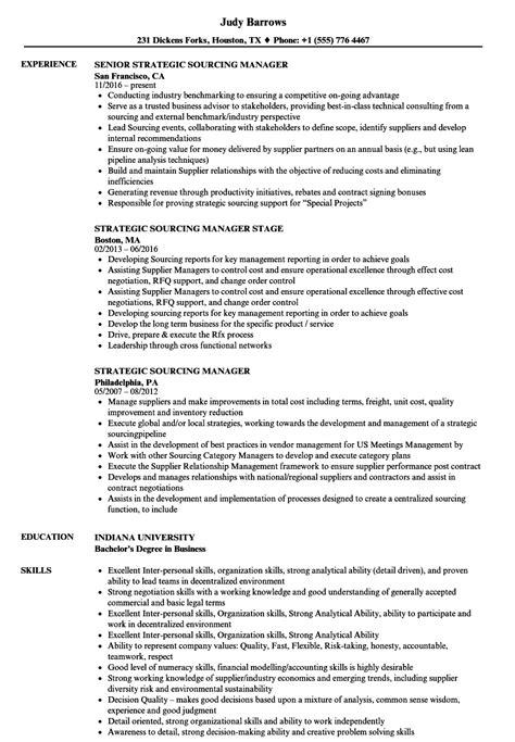 strategic sourcing manager resume sles velvet