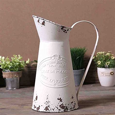 Watering Honey Elegant French Style Country Primitive Pitcher Flower Vase Watering Can Planters