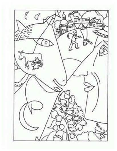 Famous Coloring Pages Paintings Chagall Marc Painting