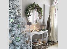 White hallway with metallic decorations Christmas