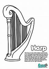 Coloring Harp Instruments Musical Harpsichord Drawing Educational Resources Kunjungi Results sketch template