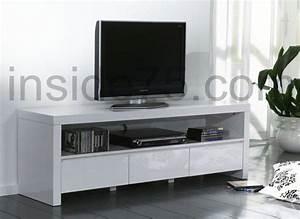 Meuble Blanc Laqué Brillant : white meuble tv avec 3 tiroirs laque blanc brillant ~ Dailycaller-alerts.com Idées de Décoration