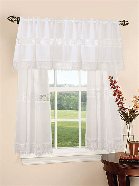 treasure lace sheer pc kitchen curtain set