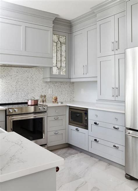 Kitchen Floor Tile Marble by Small Gray U Shaped Kitchen Clad In Polished Marble Floor