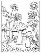 Coloring Mushroom Adults Adult Getcolorings Mush sketch template