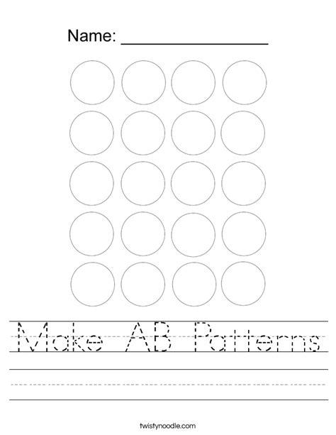 Make Ab Patterns Worksheet  Twisty Noodle