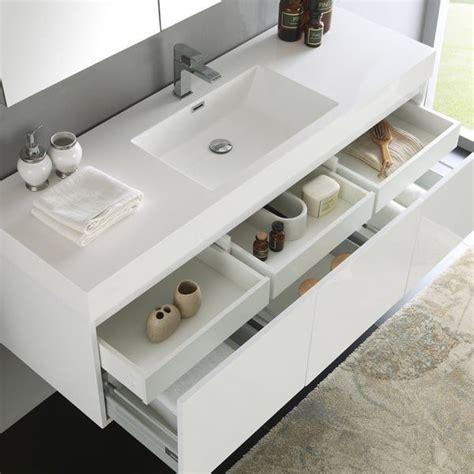 fresca mezzo white   wall hung single sink modern