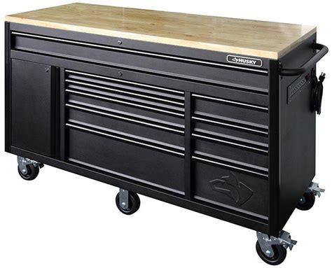portable tool boxes husky 60 inch 10 drawer mega mobile workbench