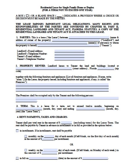 florida residential lease agreement free florida month to month lease agreement pdf word Free