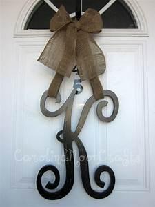 single letter monogram wooden door decor 18 inches With single letter monogram for front door